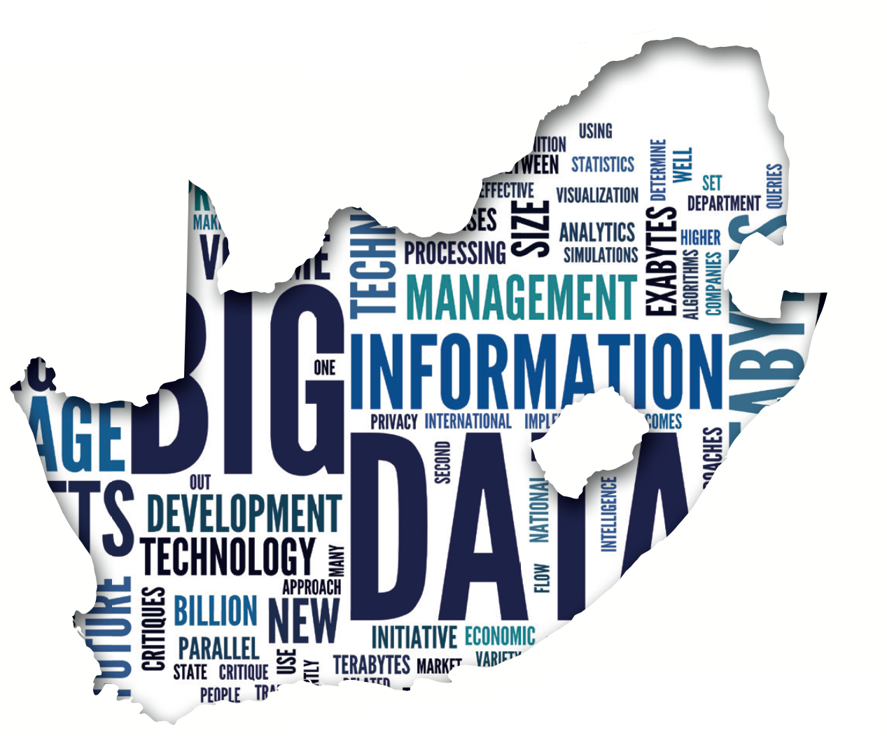 South Africa Map filled with Big Data terminology